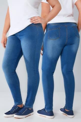 Jeggings Mid Blue Pull On Stretch SHAPER Jeggings 101076