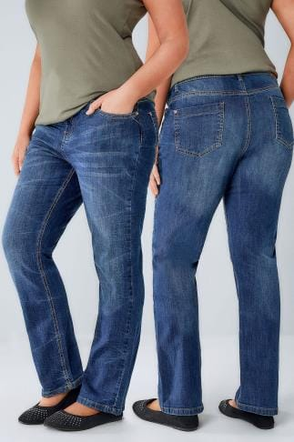 Coupe droite Mid Blue Denim Straight Leg Jeans 056259