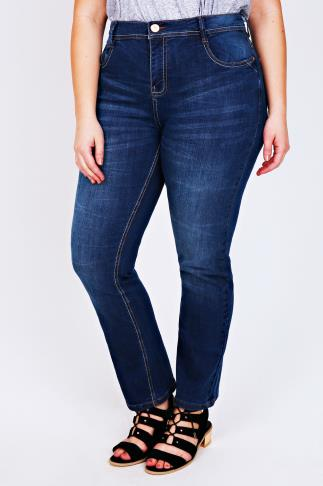 Mid Blue Denim Straight Leg Jeans