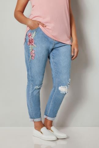 Mid Blue Floral Embroidered Ripped Boyfriend Jeans Plus