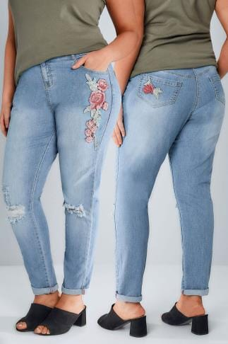 Boyfriend & Slouch Jeans Mid Blue Floral Embroidered Ripped Boyfriend BROOKLYN Jeans 142014