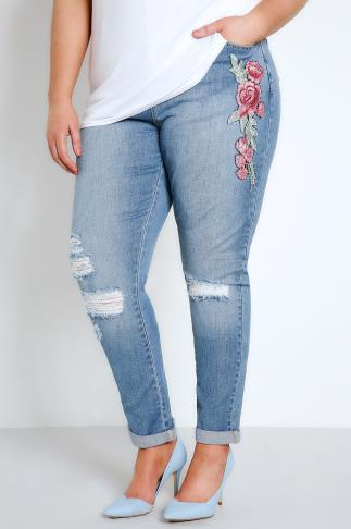 Mid Blue Floral Embroidered Ripped Boyfriend Jeans 142014