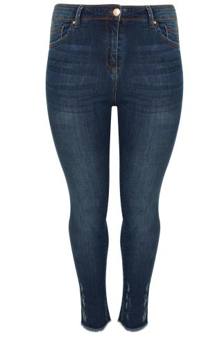 LIMITED COLLECTION Mid Blue Ripped Hem Skinny Jeans