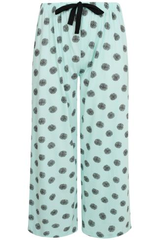 Mint Green Cross Hatch Spot Print Pyjama Bottoms 148005