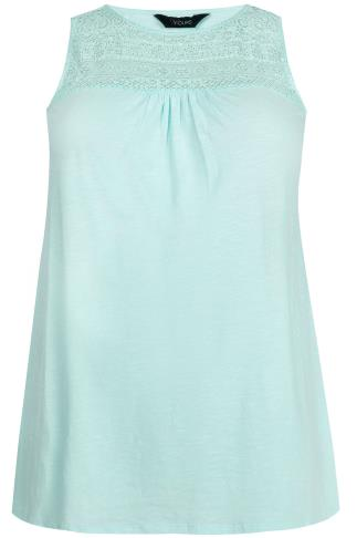 Mint Green Sleeveless Top With Crochet Neckline Panel