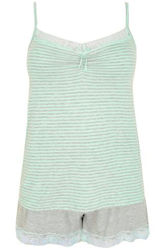 Mint & Grey Marl Stripe Cami Vest & Shorts Pyjama Set With Lace Detail