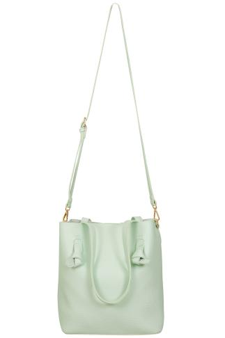 Bags & Purses Mint Leather Look Shopper Bag With Knot Trim 152082