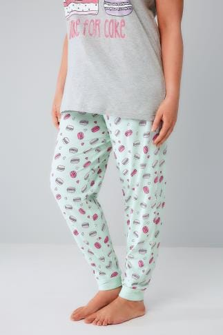 Pyjama Separates Mint & Multi Macaroon Print Pyjama Bottoms 148044