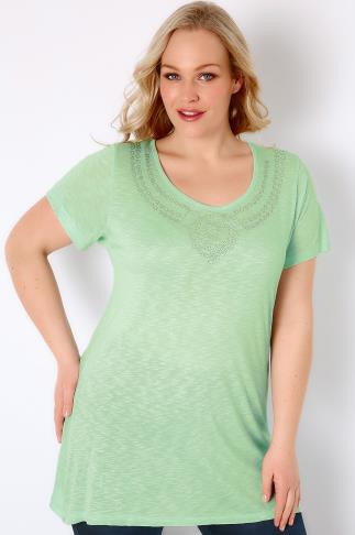 Mint Textured Jersey Top With Jewel Embellishment 170025