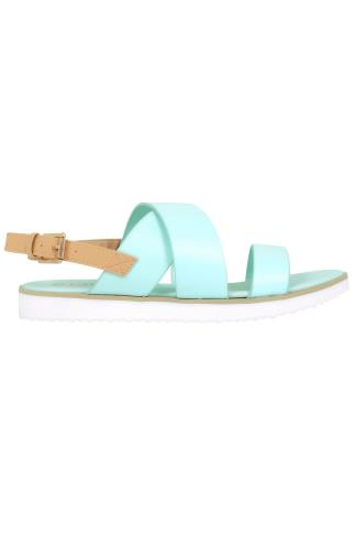 Wide Fit Sandals Mint Three Strap Flat Sandals With Contrast Back Strap In EEE Fit 056457