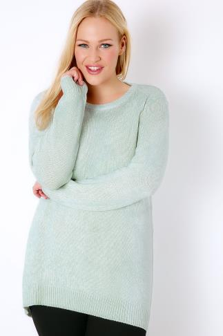 Jumpers Mint & White Twist Knitted Longline Jumper 102809