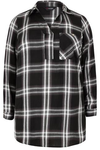 Mono Oversized Checked Shirt With V-Neck