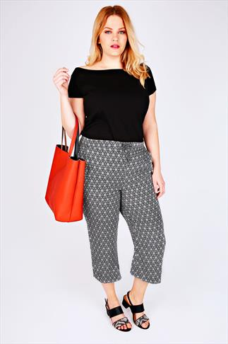 Mono Printed Cropped Trousers With Draw String Waist 057095