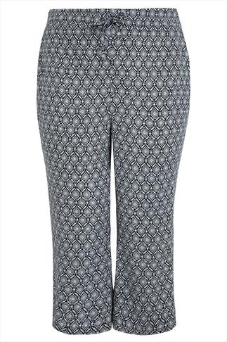 Mono Printed Cropped Trousers With Draw String Waist