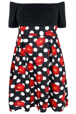 Mono & Red Polka Dot Floral Bardot Skater Midi Dress