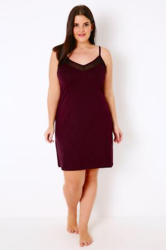 Nightdresses & Chemises Mulberry Purple Chemise With Mesh Insert 102267