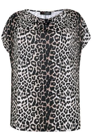 Multi Leopard Print Top With Cowl Neck