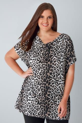 Jersey Tops Multi Animal Print Top With Cowl Neck 156200