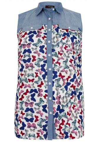 Multi Butterfly Print Sleeveless Shirt With Chambray Yoke Panel