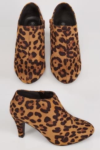 Wide Fit Ankle Boots Multi COMFORT INSOLE Animal Print Heeled Shoe Boot In EEE Fit 102196
