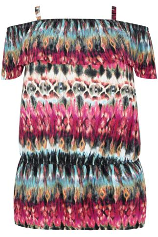 Multi Coloured Kaleidoscope Print Longline Bardot Top