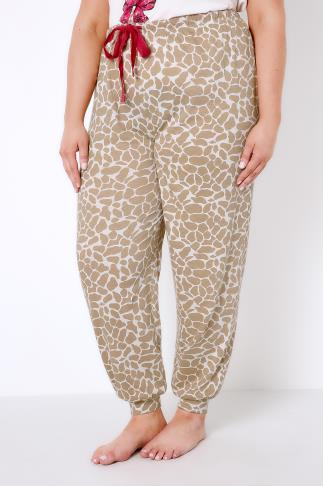 Multi Giraffe Print Pyjama Bottoms