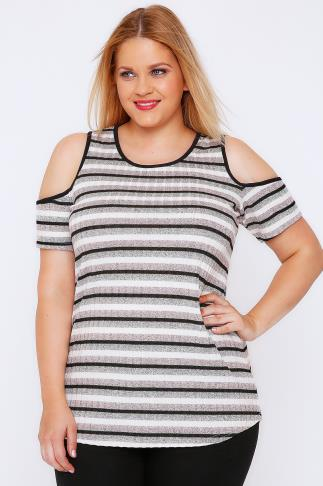 Multi Stripe Knit Cold Shoulder Top