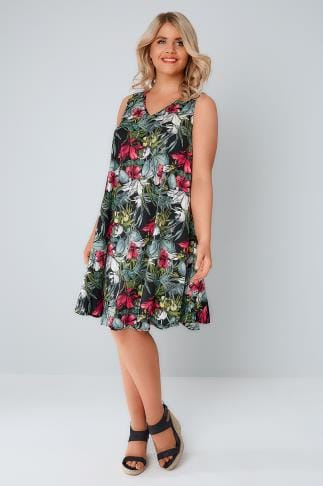 Swing & Shift Dresses Multi Tropical Floral Swing Dress 156229
