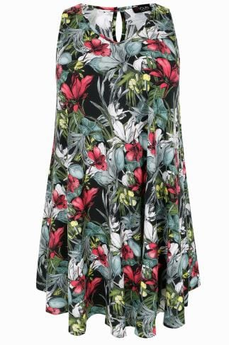 Multi Tropical Floral Swing Dress 156229