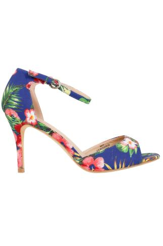 Multi Tropical Print Heeled Sandals With Ankle Strap In EEE Fit 056473