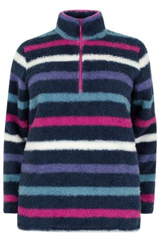 Polaires Multicoloured Striped Fleece With Zip Neck 126047