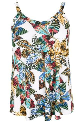 Multicoloured Tribal Palm Print Soft Jersey Vest Top
