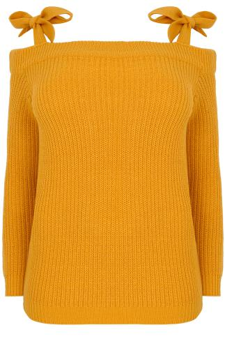 LIMITED COLLECTION Mustard Yellow Bardot Knitted Jumper With Tie Shoulder Details