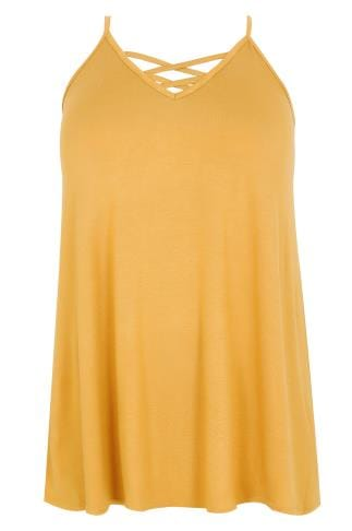 Mustard Yellow V-Neck Cami Vest Top With Cross Front Detail