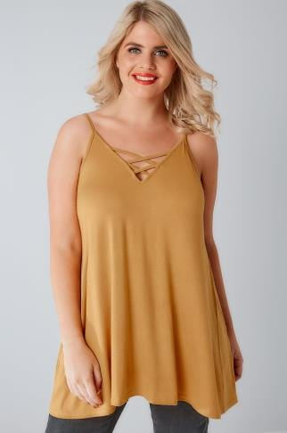 Vests & Camis Mustard Yellow V-Neck Cami Vest Top With Cross Front Detail 170261