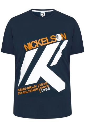 NICKELSON Navy Short Sleeve Crew Neck T-Shirt