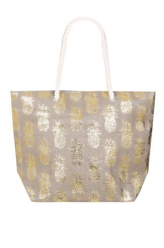Beach Bags Natural & Gold Pineapple Print Straw Beach Bag With Rope Handles 152252