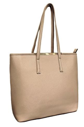 Bags & Purses Natural Shopper Bag With Metal Bar Detail 152420