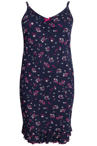Navy All Over Star Print Chemise With Ruffle Hem