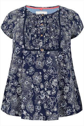 BURNHAM BAY Navy & White Floral Print Blouse With Pleating & Button Detail