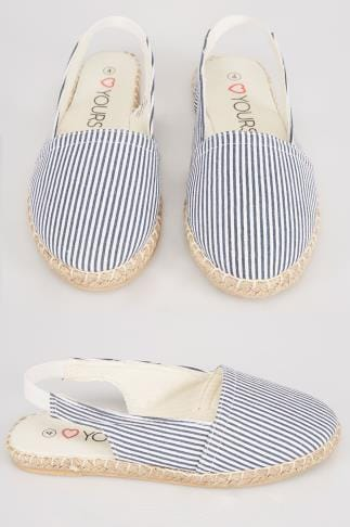 Wide Fit Flat Shoes Navy And White Slingback Espadrilles In EEE Fit 056452