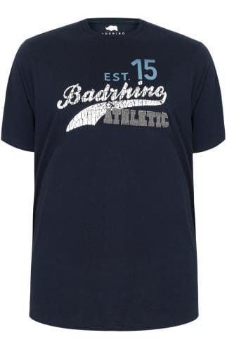 "BadRhino Navy ""Athletic"" Slogan T-Shirt"
