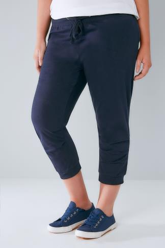 Navy Basic Cotton Jersey Cropped Joggers With Fold Detail 126010