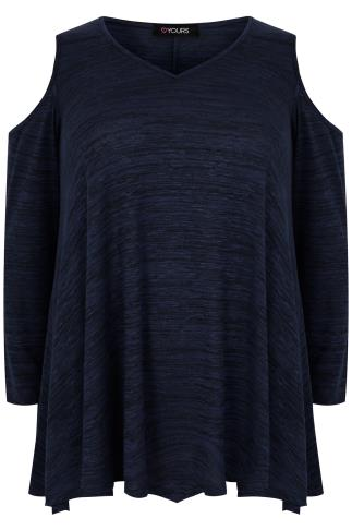 Navy & Black Cold Shoulder Asymmetric Top With Long Sleeves