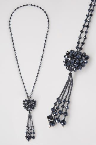 Jewellery Navy Blue Beaded Long Necklace With Graphite Heart & Tassel Pendant 102761