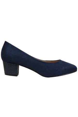 Navy Blue COMFORT INSOLE Suedette Heeled Court Shoe In EEE Fit 102188