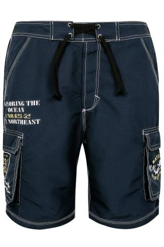 Navy Blue Cargo Swim Shorts With Crossover Waist Tie