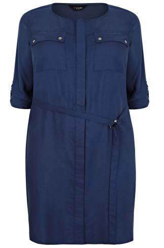 Navy Blue Utility Style D-Ring Shirt Dress With Pocket Detail
