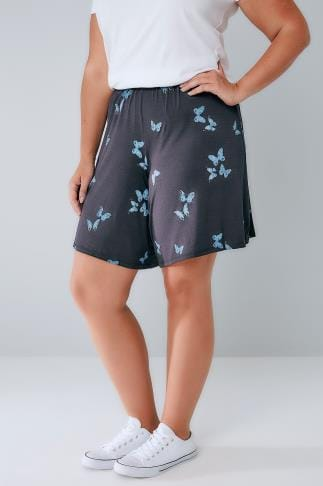 Jersey Shorts Navy Butterfly Print Jersey Pull On Shorts 144064