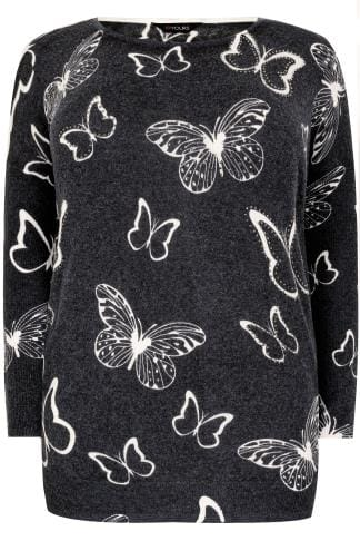 Navy Butterfly Print Fine Knit Jumper With Stud Embellishments & Ribbed Trims